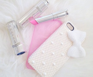 lipstick, pink, and white image