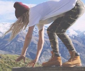 beanie, outdoors, and boots image