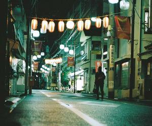night, street, and light image
