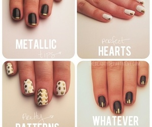 girly, gold, and nail art image