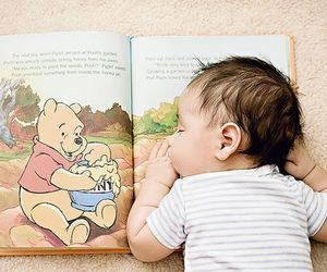 baby, cute, and book image