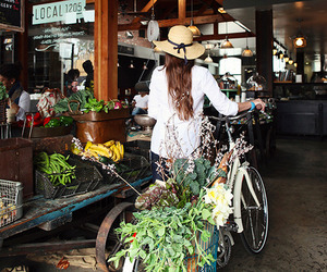 girl, bike, and market image