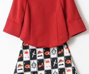 puff sleeve blouse and poker pattern skirts image