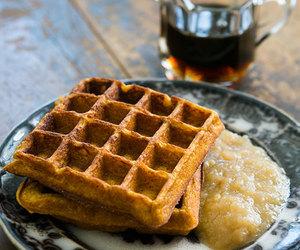 breakfast, pumpkin, and waffles image