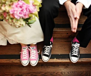 converse, wedding, and couple image
