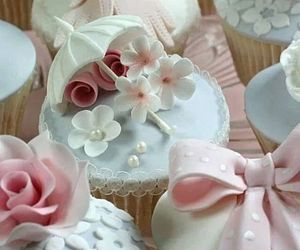 bows, cake, and cupcakes image