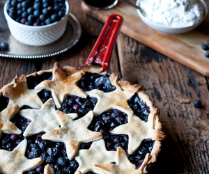 blueberry, food, and skillet pie image