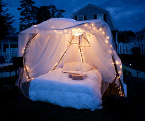 bed, light, and night image