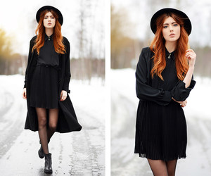 black, blouse, and hat image
