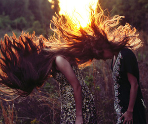 sun, girls, and hair image