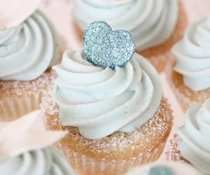 cupcake, blue, and heart image
