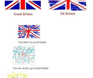 funny, britain, and flag image