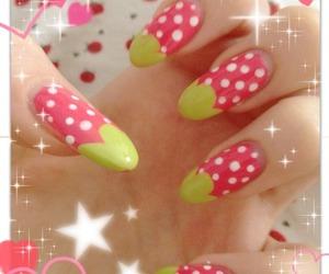 nail, nail art, and strawberry image