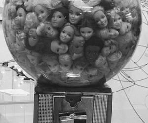 barbie, black and white, and head image