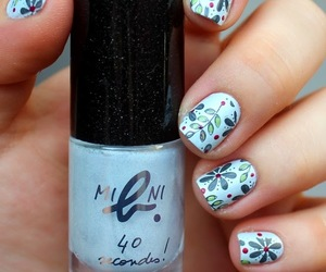 blue, flowers, and nail polish image