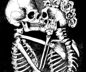 love, skull, and kiss image