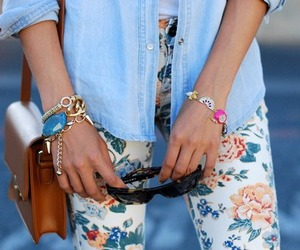 bag, floral, and sunglasses image