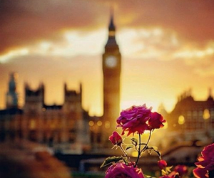 flowers, london, and Big Ben image