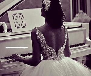 wedding, dress, and piano image