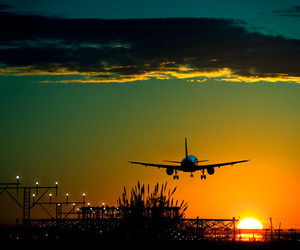 sunset, airplane, and sky image
