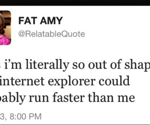 funny, fat amy, and out of shape image