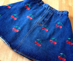 cherry, denim, and skirt image