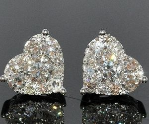 earrings, diamond, and heart image
