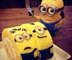minions, cake, and yellow image
