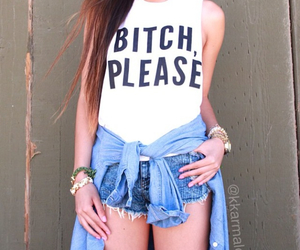 black and white, denim shirt, and denim shorts image