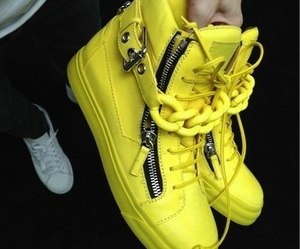 fashion, yellow, and sneakers image