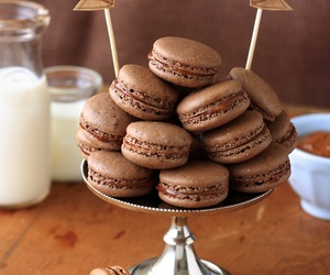 chocolate, food, and macaroons image