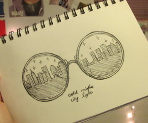 city, drawing, and glasses image