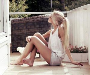 blond girl, long hair, and pretty girl image
