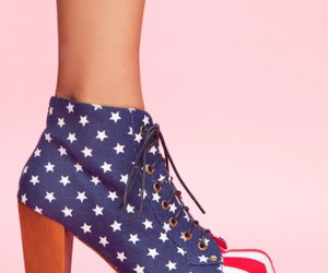 high heels, american flag, and fashion image