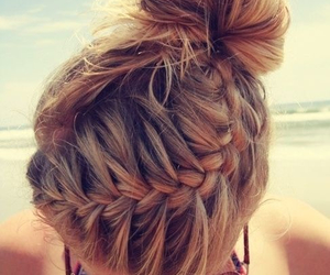 beach, braid, and fun image