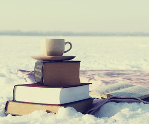 book, snow, and coffee image