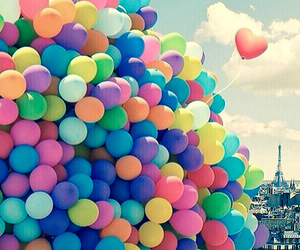 balloons, colors, and sea image