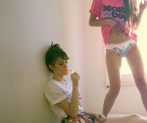 girl, smoke, and underwear image