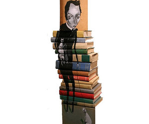 books, man, and painting image