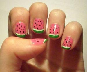 nails, nail art, and watermelon image
