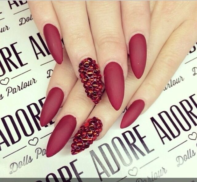 matte red nails shared by diadia on We Heart It