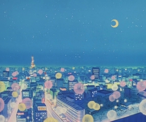 city, moon, and pastel image