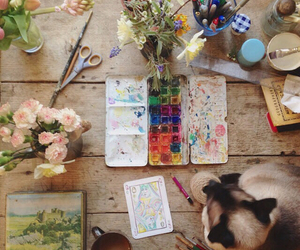 art, flowers, and cat image