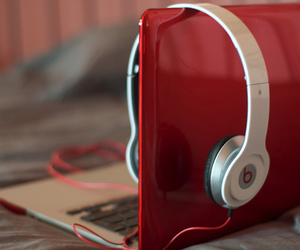 headphones, macbook, and photography image