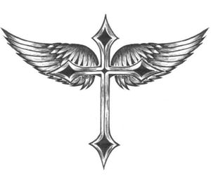 tattoo, cross, and wings image