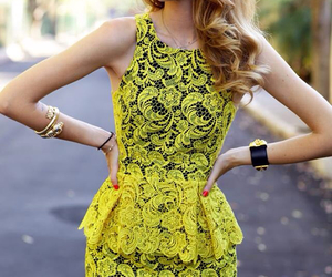 fashion, dress, and yellow image