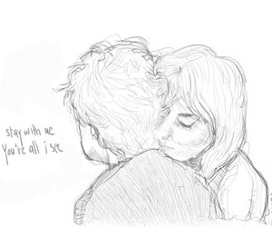 couple, drawing, and stay with me image