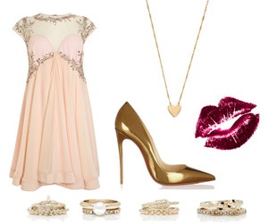 dress, gold, and heart image