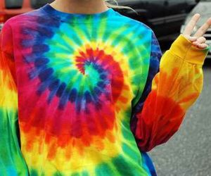girl, colorful, and tie dye image