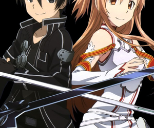 kirito, asuna, and anime image